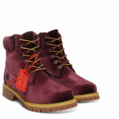 Timberland X Off White 6 Inch Bayan Bot Bordo - TR3470ZGN